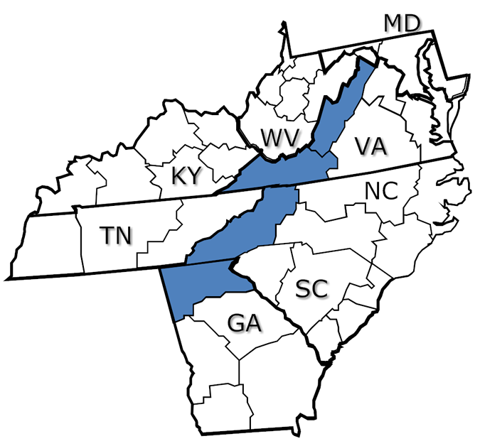 Map of the Blue Ridge Mountains
