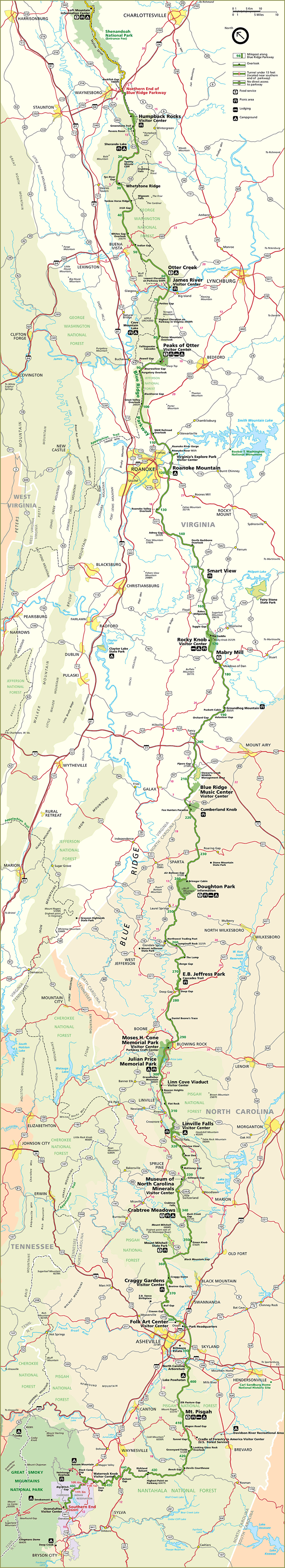 Official Blue Ridge Parkway Map